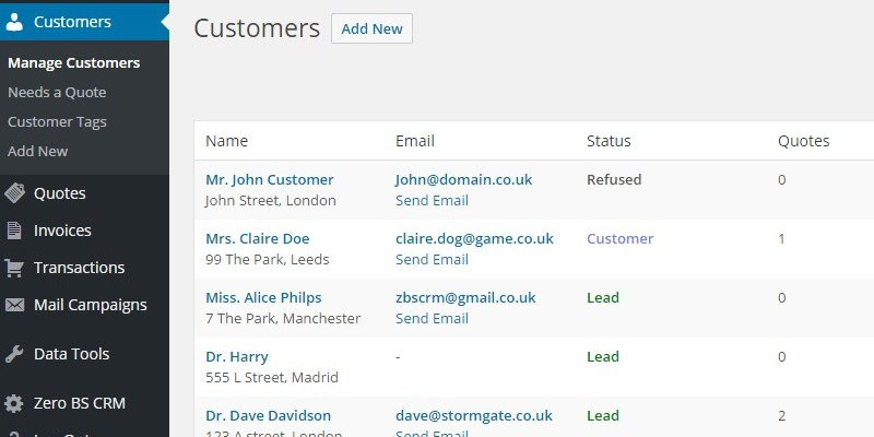 Zero BS CRM Screenshot