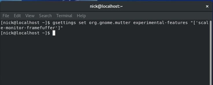 Enable scaling settings GNOME
