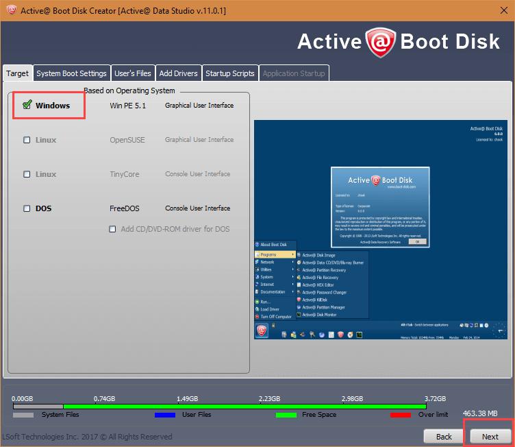 active-data-studio-select-windows-option