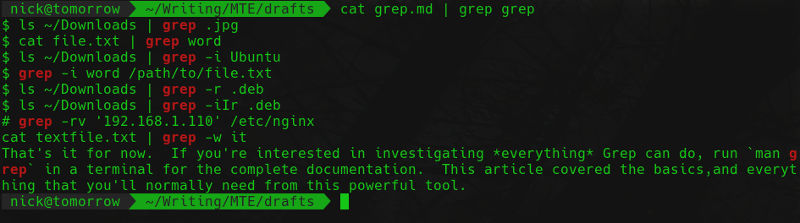 grep grep in this article