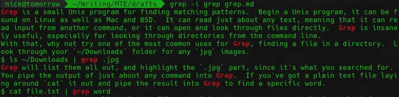 grep in a file