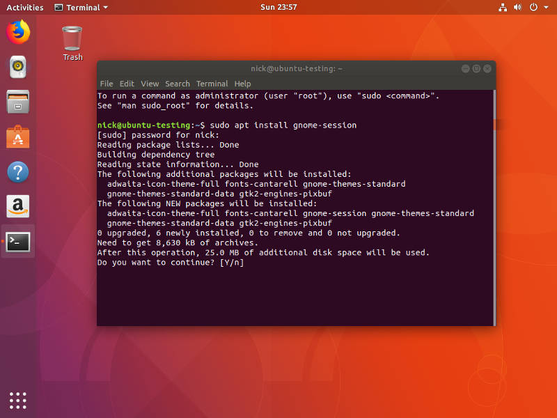 Install gnome-session on Ubuntu