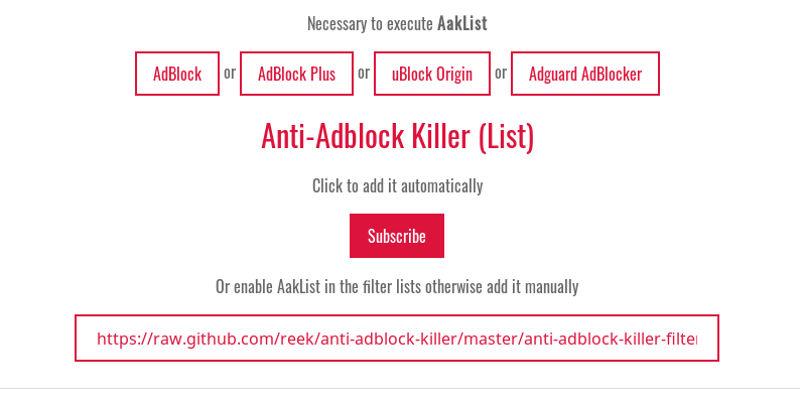 Install Anti-Adblock Killer definition list