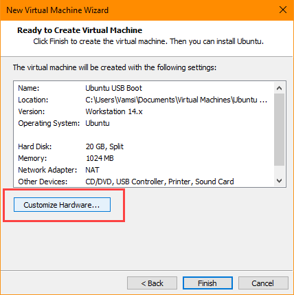 usb-boot-vmware-click-customize-hardware