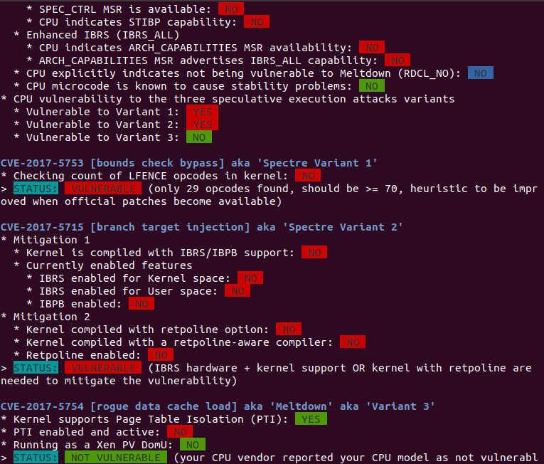 Meltdown Spectre Check Script Ubuntu