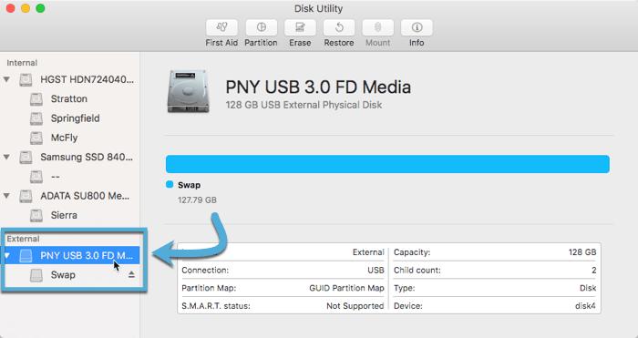 create-linux-live-usb-macos-disk-utility-select-usb-drive
