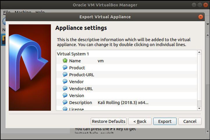 VirtualBox Export Settings