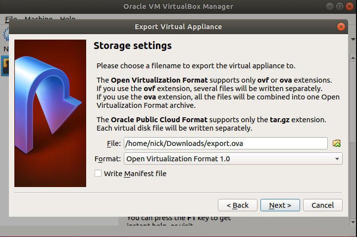 VirtualBox Export Location