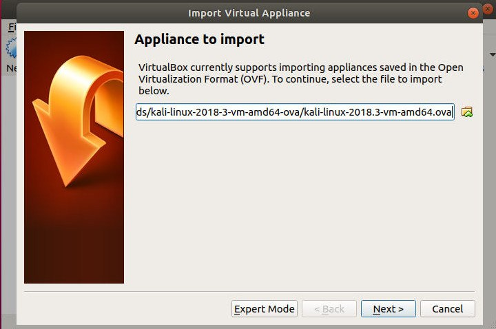 VirtualBox Import File Location