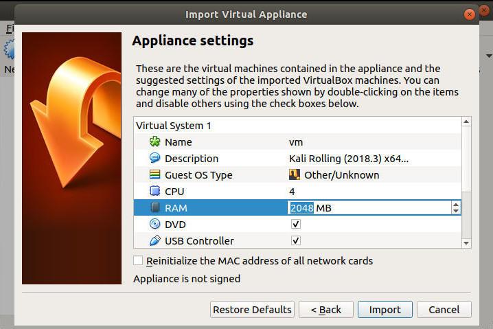 VirtualBox Import Settings