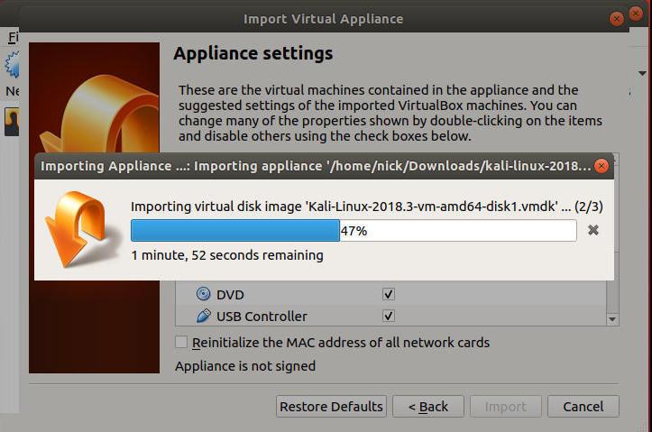 VirtualBox Importing OVA