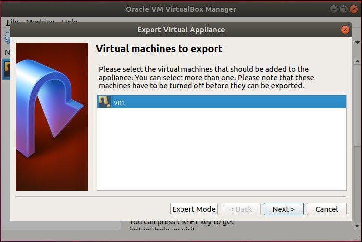 VirtualBox Export Available VMs