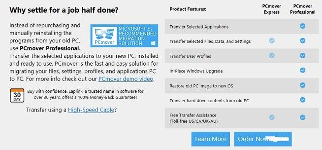 PCmover features comparison