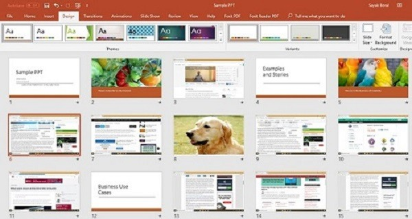 Selecting design template for PowerPoint 2010