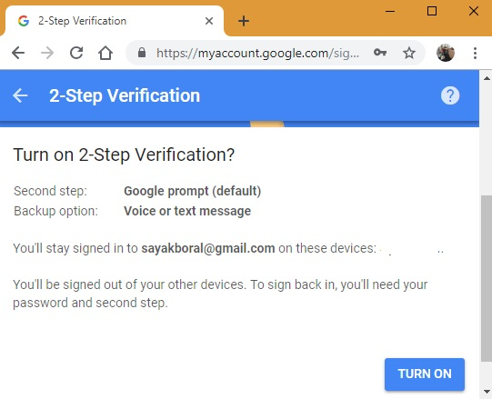 2 step verification steps in Google