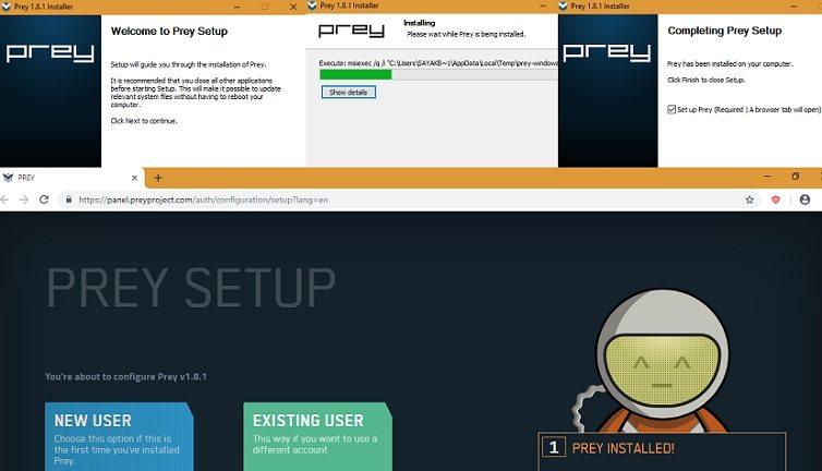 Prey-1.8.1 Target PC Installation and Dashboard Setup Screens