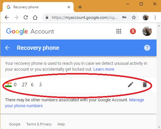 Recovery phone delete from Google