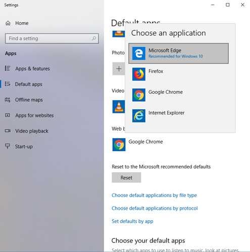 how to change windows 10 mail associations