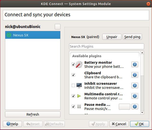 KDE Connect Desktop Settings Ubuntu