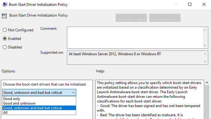 win10-early-launch-drivers-policy-setting
