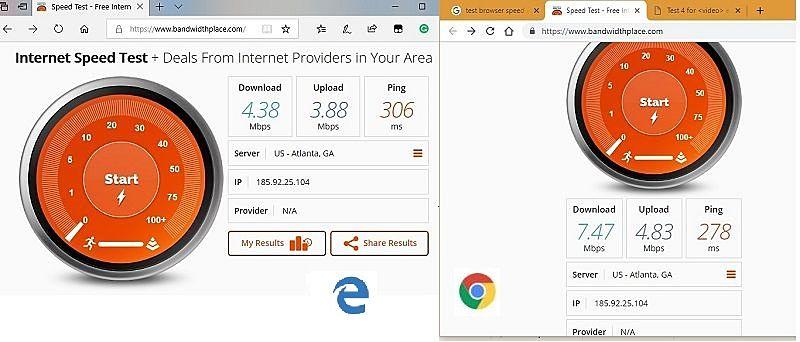 Chrome versus Edge network bandwidth test and usage